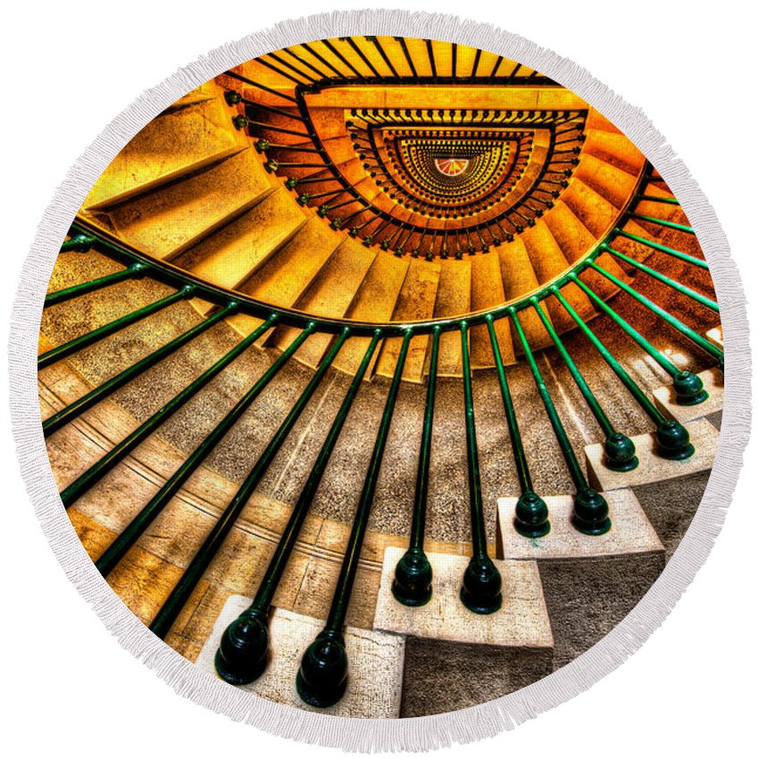 Architecture Round Beach Towel featuring the photograph Winding Up by Chad Dutson