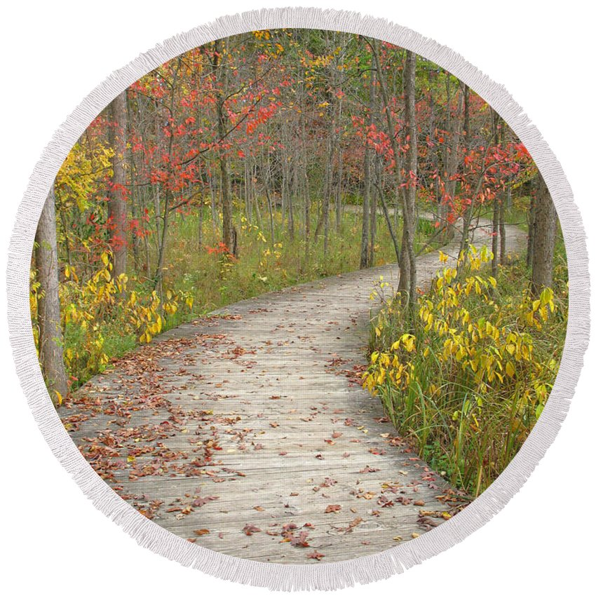 Autumn Round Beach Towel featuring the photograph Winding Woods Walk by Ann Horn