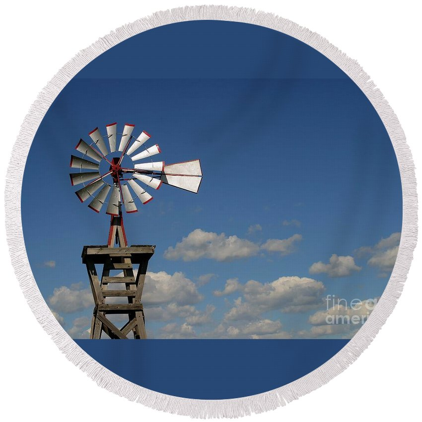 Windmill Photographs Round Beach Towel featuring the photograph Windmill-5764b by Gary Gingrich Galleries