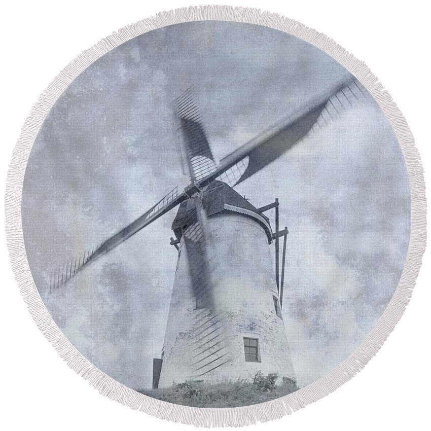 Windmill Round Beach Towel featuring the photograph Windmill At Damme In Belgium Countryside by Greg Matchick