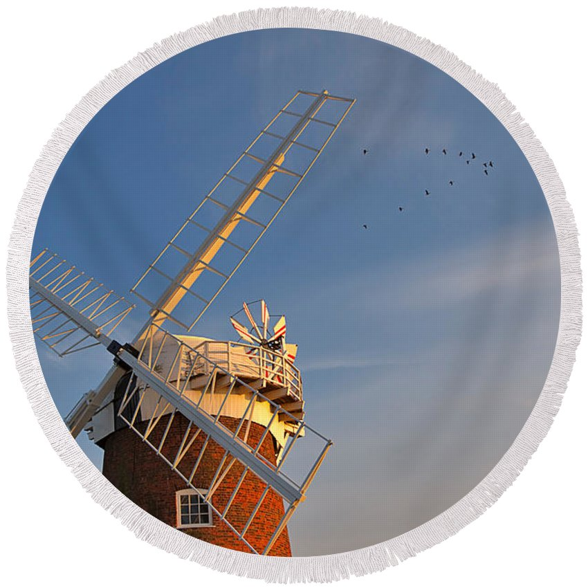 Windmill Round Beach Towel featuring the photograph Windmill At Dusk On The Norfolk Broads In Autumn by Louise Heusinkveld