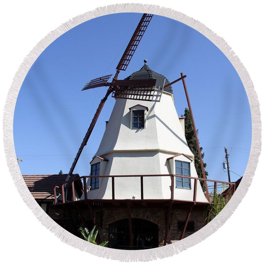 Windmill Round Beach Towel featuring the photograph Windmill In Solvang by Christiane Schulze Art And Photography