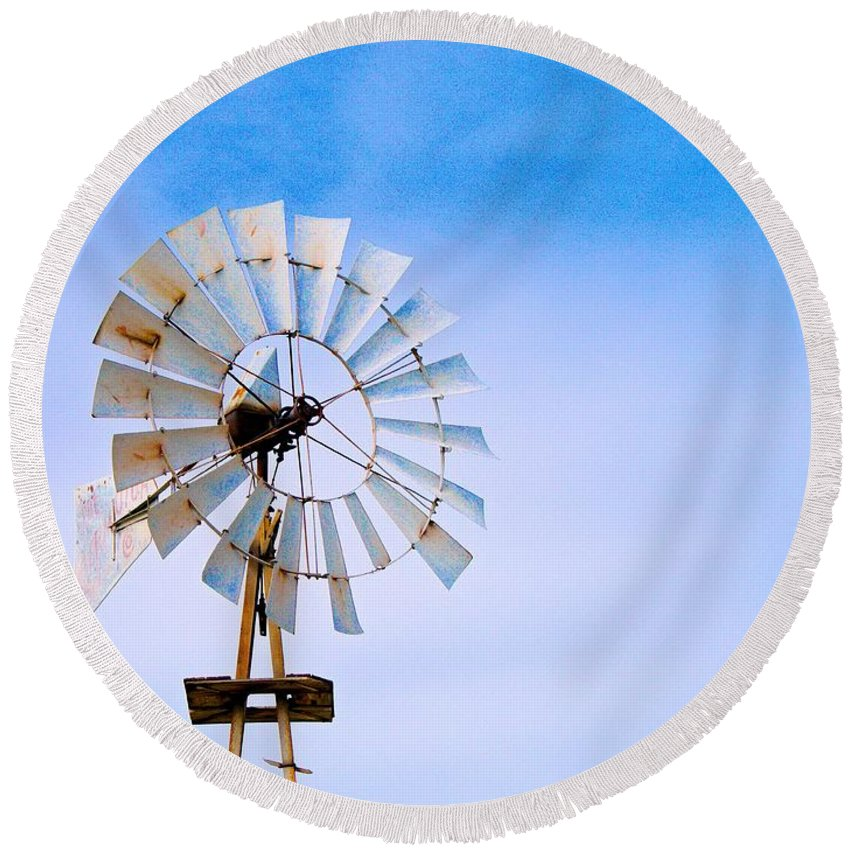Windmill Round Beach Towel featuring the photograph Windmill In Winter by Gary Richards