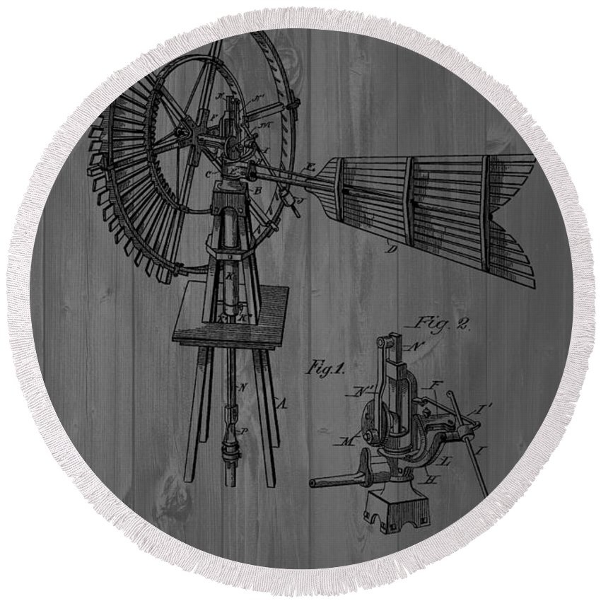 Barn Wall Round Beach Towel featuring the mixed media Windmill Patent Barn Wall by Dan Sproul