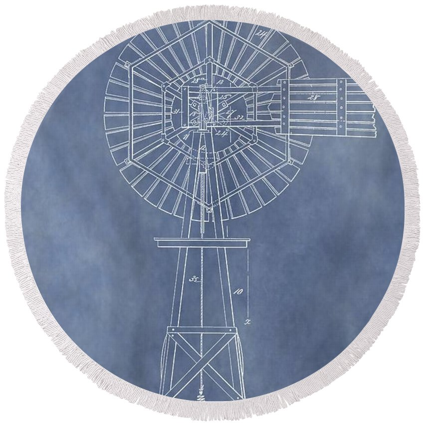 Antique Windmill Patent Round Beach Towel featuring the mixed media Windmill Patent by Dan Sproul