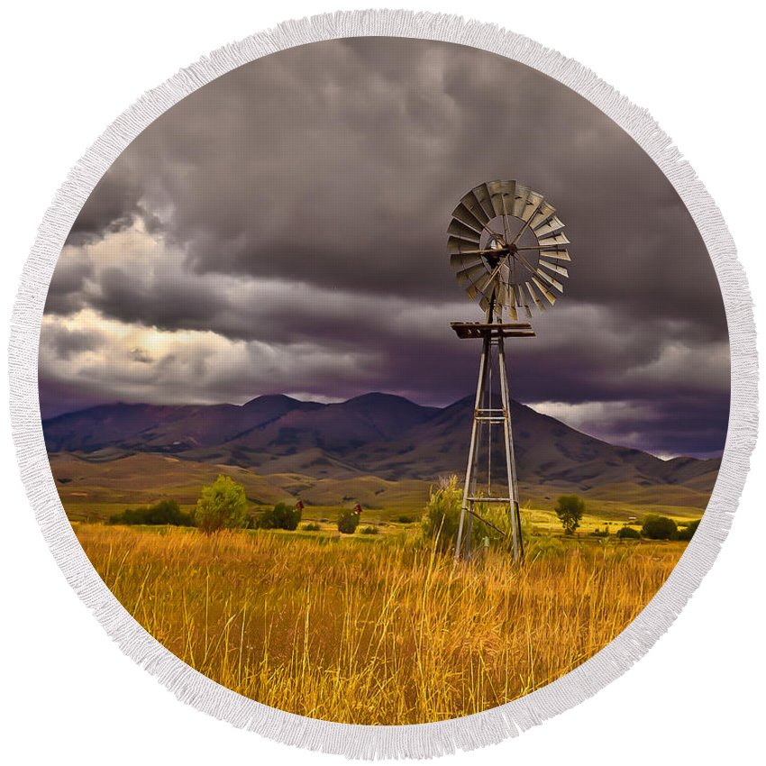 Solider Mountains Round Beach Towel featuring the photograph Windmill by Robert Bales