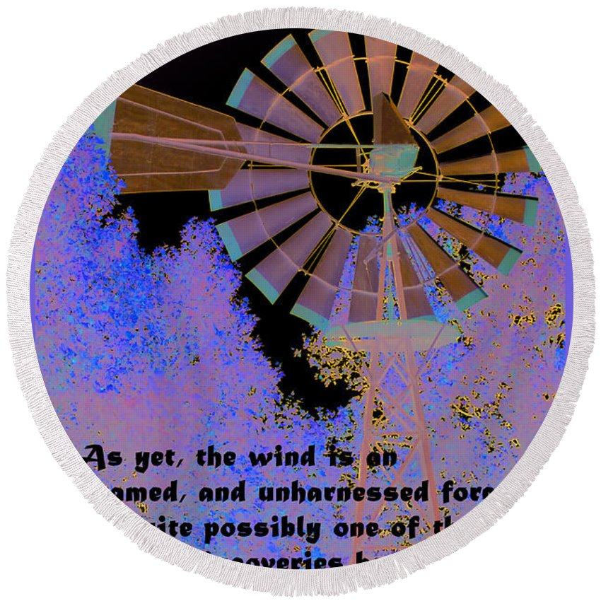 Barbara Snyder Round Beach Towel featuring the digital art Windmill With Lincoln Quote by Barbara Snyder