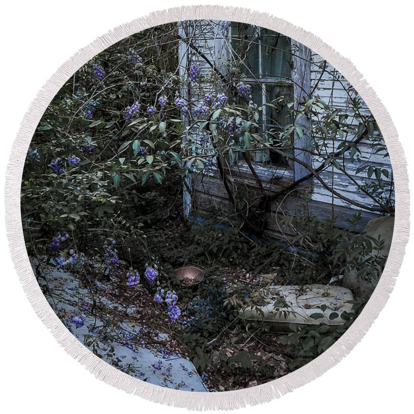 Abandoned Round Beach Towel featuring the photograph Window And Flowers by Ken Frischkorn