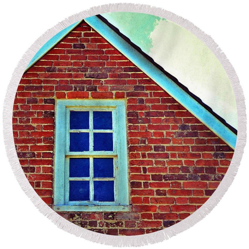 Window Round Beach Towel featuring the photograph Window In Brick House by Jill Battaglia