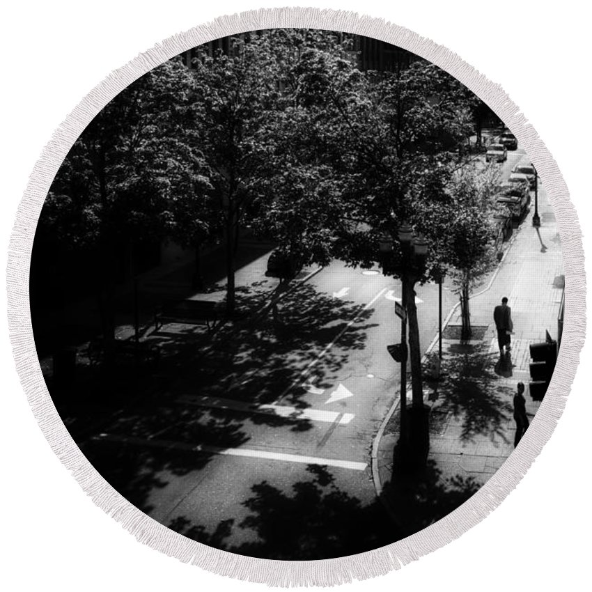 Landscape Round Beach Towel featuring the photograph Window On Lisbon Street by Bob Orsillo