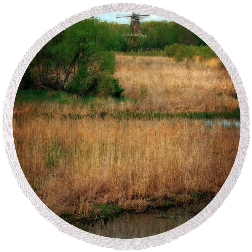 Windmill Island Round Beach Towel featuring the photograph Window On The Waterfront Dezwaan Windmill by Michelle Calkins