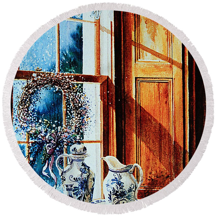 Still Life Round Beach Towel featuring the painting Window Treasures by Hanne Lore Koehler