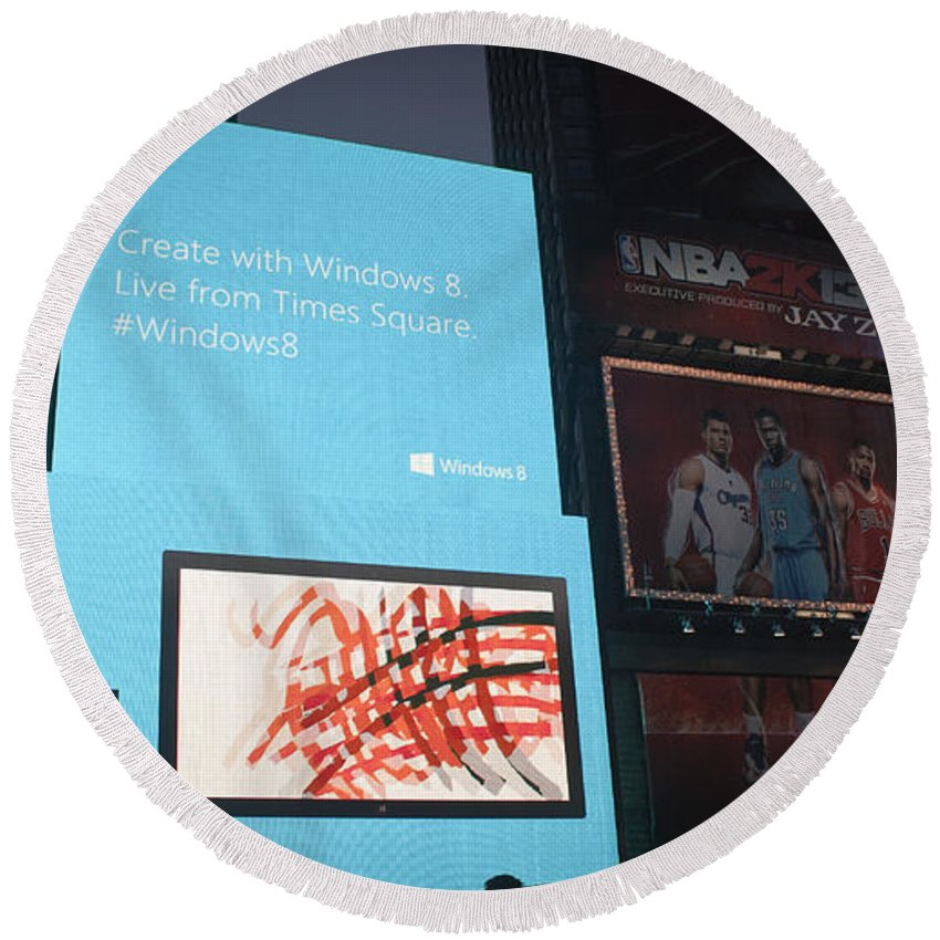 Times Square Round Beach Towel featuring the photograph Windows 8 by Teresa Mucha