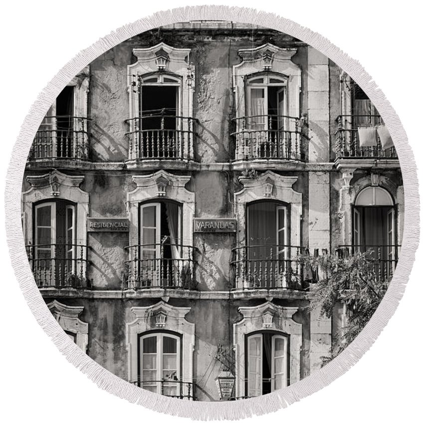 Building Facade Round Beach Towel featuring the photograph Windows And Balconies 1 by Rod McLean