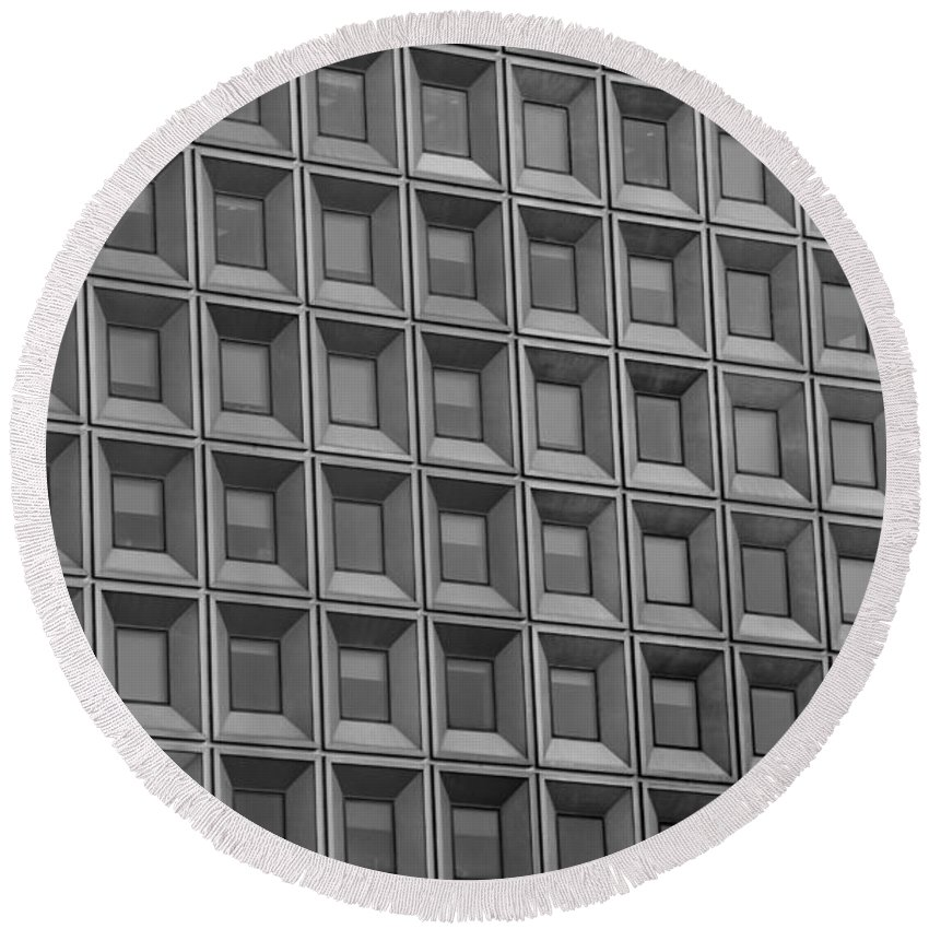 Abstract Round Beach Towel featuring the photograph Windows In Black And White by Rob Hans