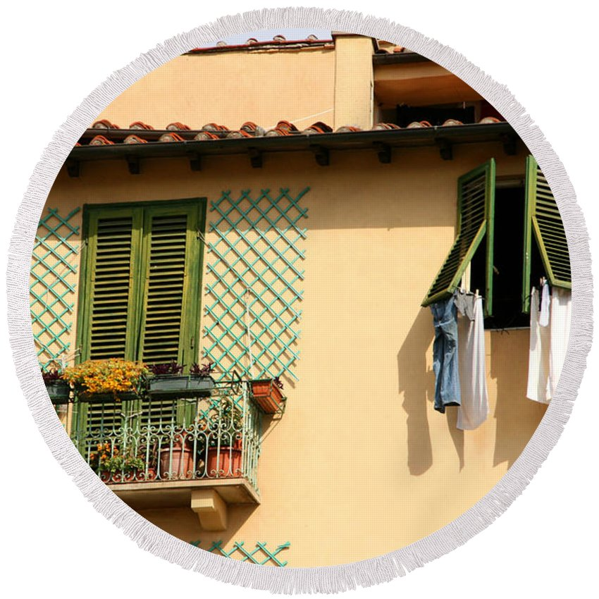 Lucca Round Beach Towel featuring the photograph Windows, Italy by Holly C. Freeman