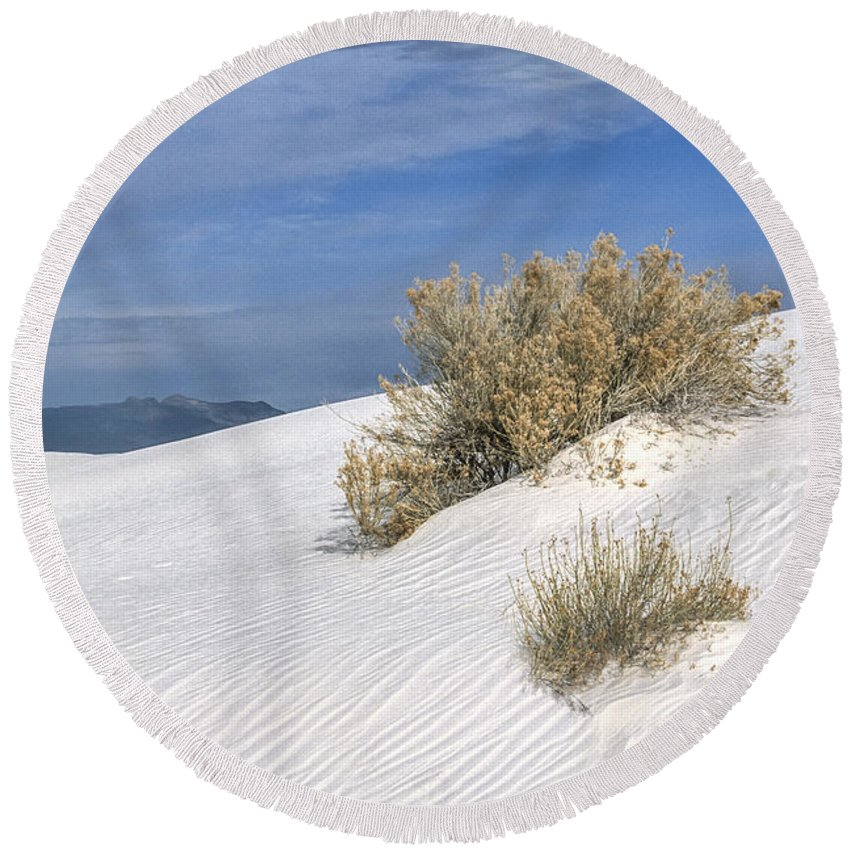 Southwest Round Beach Towel featuring the photograph Windswept - White Sands National Monument by Sandra Bronstein