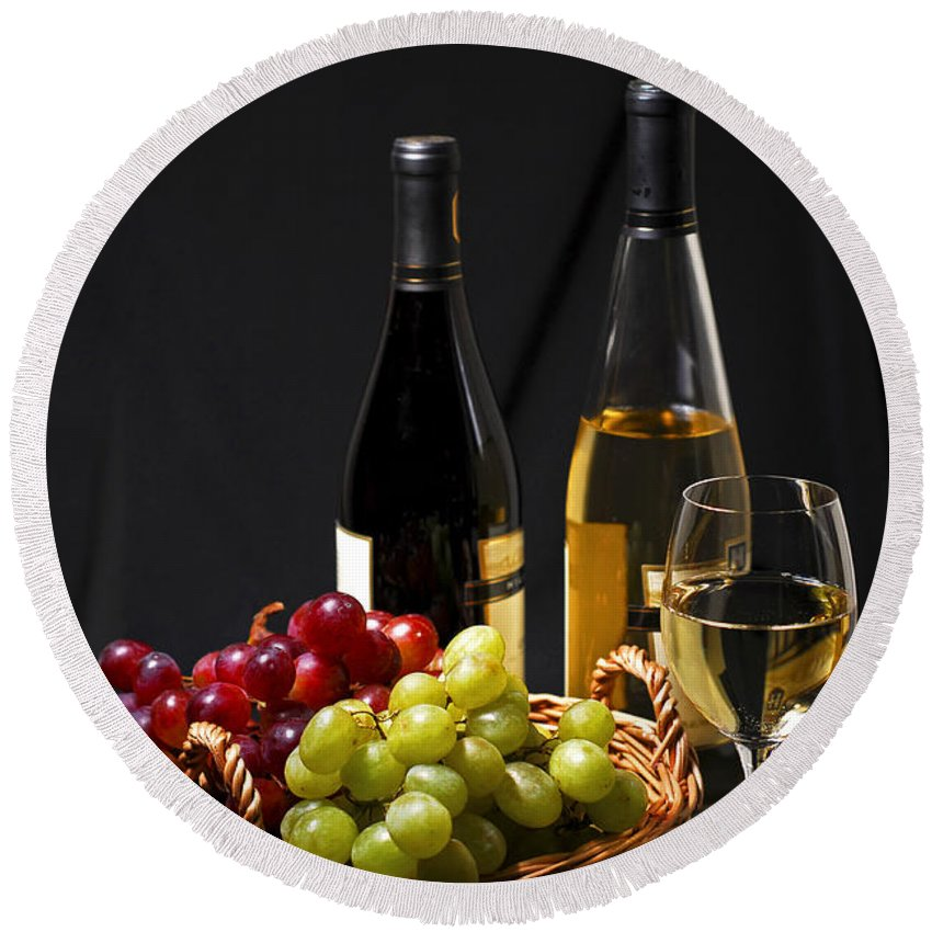 Wine Round Beach Towel featuring the photograph Wine And Grapes by Elena Elisseeva