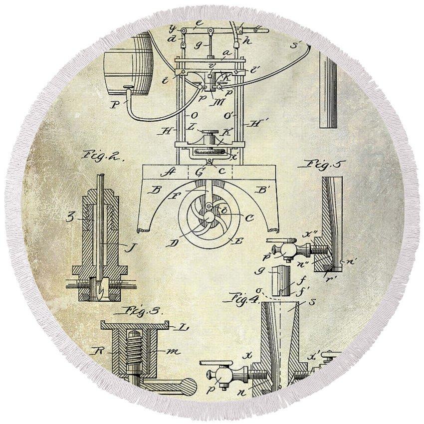 Patent Round Beach Towel featuring the photograph 1890 Wine Bottling Machine by Jon Neidert