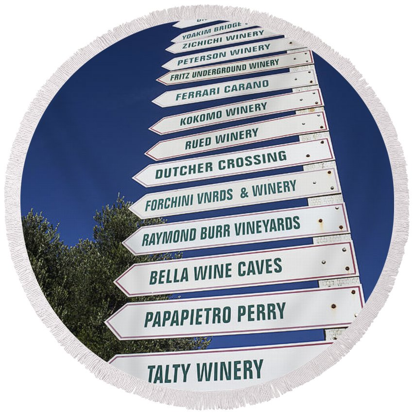 Wine Round Beach Towel featuring the photograph Wine Country Signs by Garry Gay