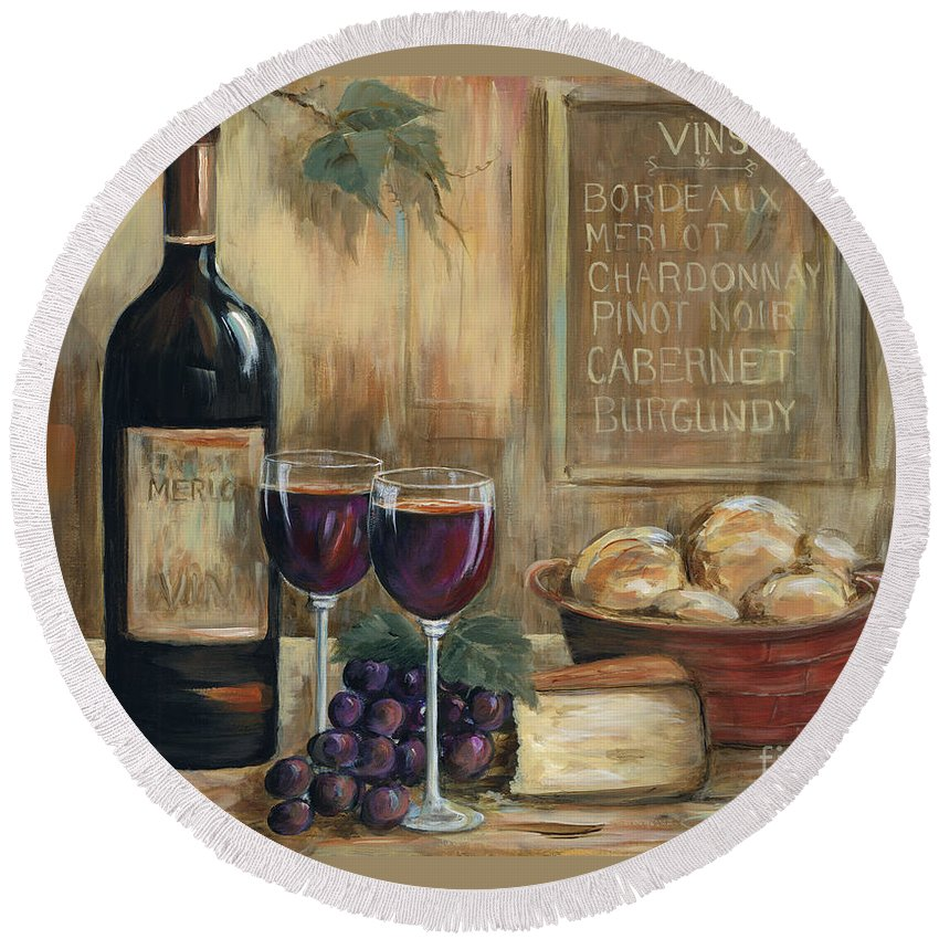 Wine Round Beach Towel featuring the painting Wine For Two by Marilyn Dunlap