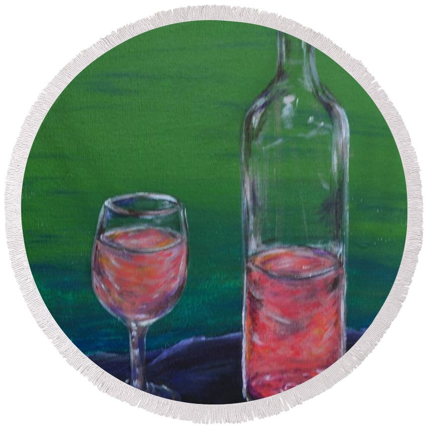 Wine Round Beach Towel featuring the painting Wine Glass And Bottle by Meganne Peck