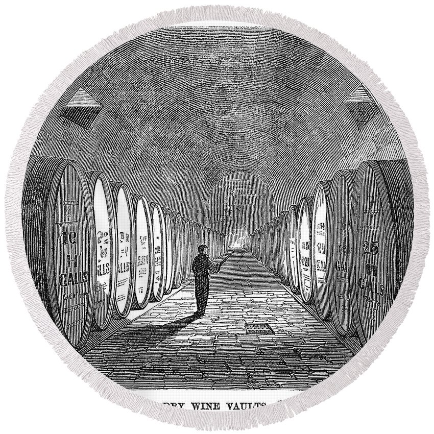 1866 Round Beach Towel featuring the painting Winemaking Vault, 1866 by Granger