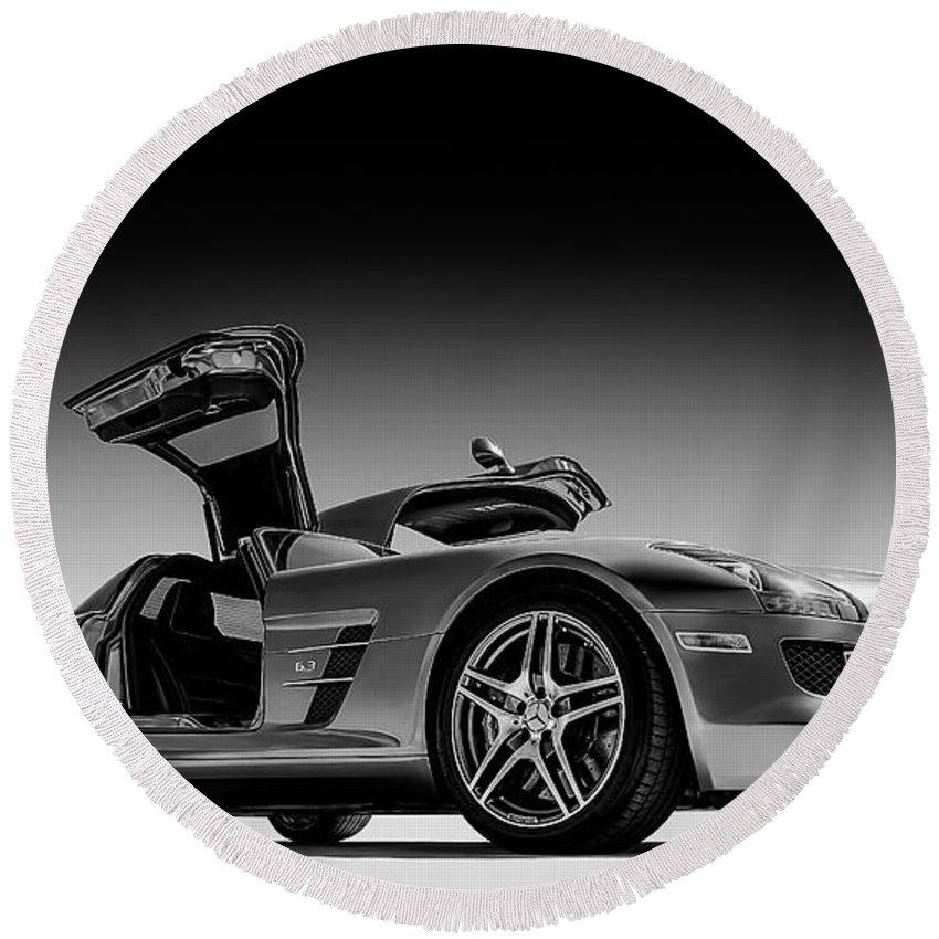 Mercedes Round Beach Towel featuring the digital art Mercedes-benz Sls Amg by Douglas Pittman