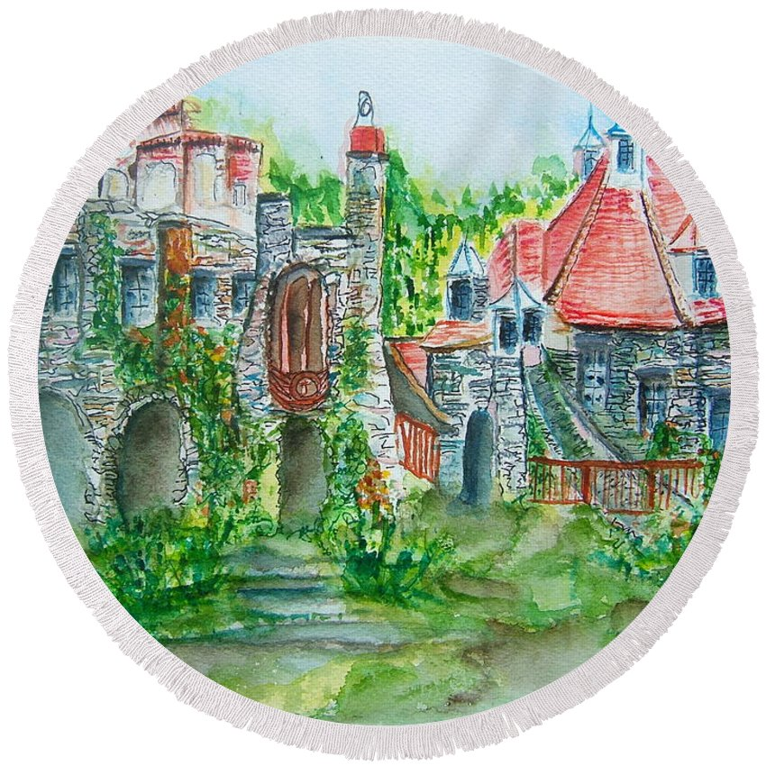 Wings Castle Round Beach Towel featuring the painting Wings Castle by Elaine Duras