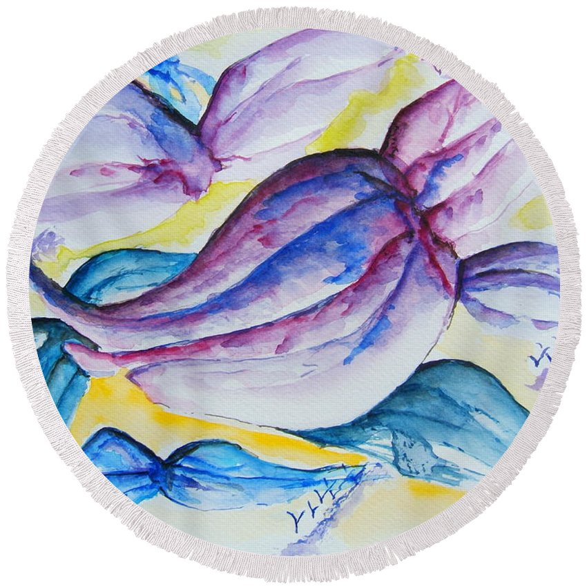 Wings Round Beach Towel featuring the painting Wings by Elaine Duras