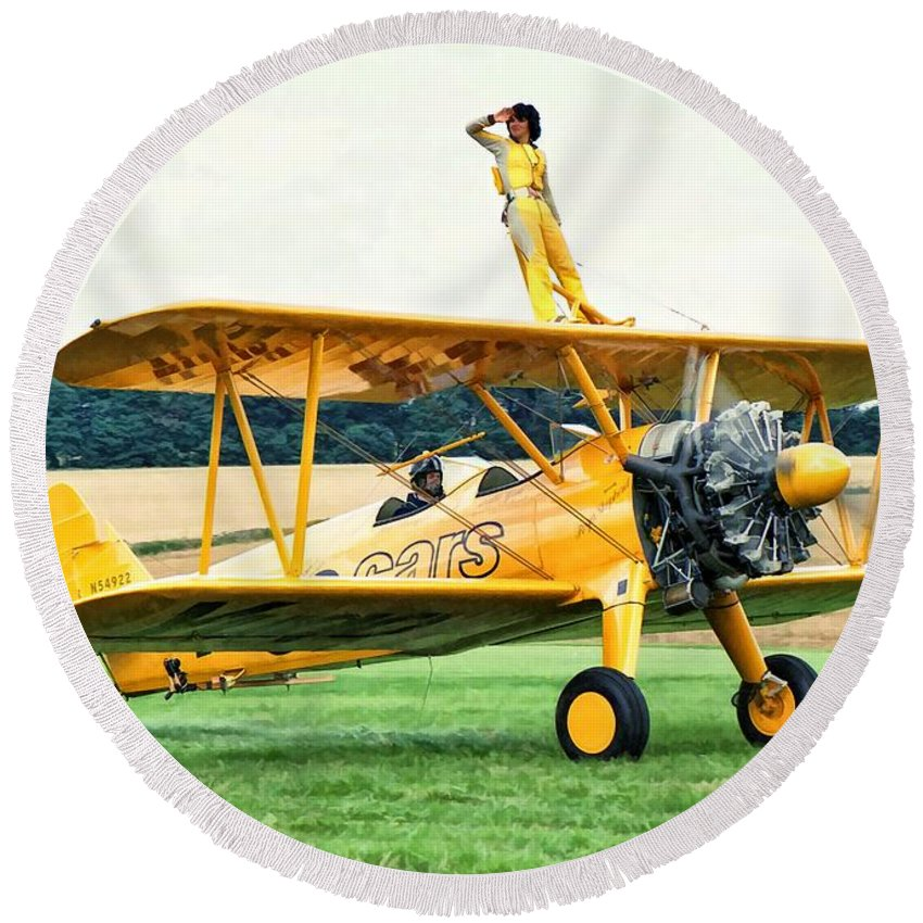 Aircraft Round Beach Towel featuring the photograph Wingwalking by Paul Gulliver