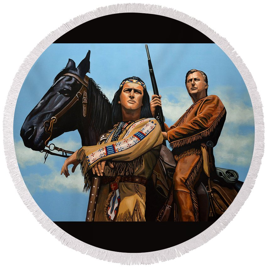 Winnetou Round Beach Towel featuring the painting Winnetou and Old Shatterhand by Paul Meijering
