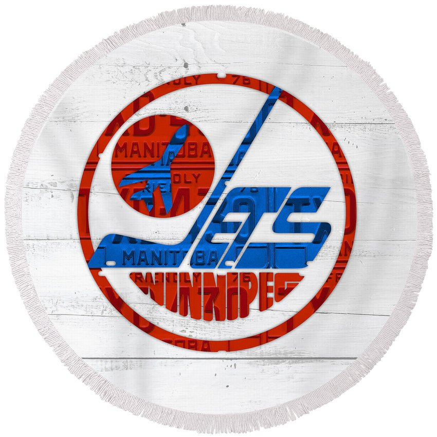 Winnipeg Round Beach Towel featuring the mixed media Winnipeg Jets Retro Hockey Team Logo Recycled Manitoba Canada License Plate Art by Design Turnpike