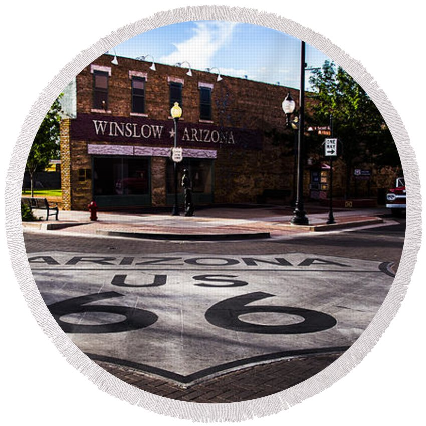 Route 66 Round Beach Towel featuring the photograph Winslow Arizona by Angus Hooper Iii