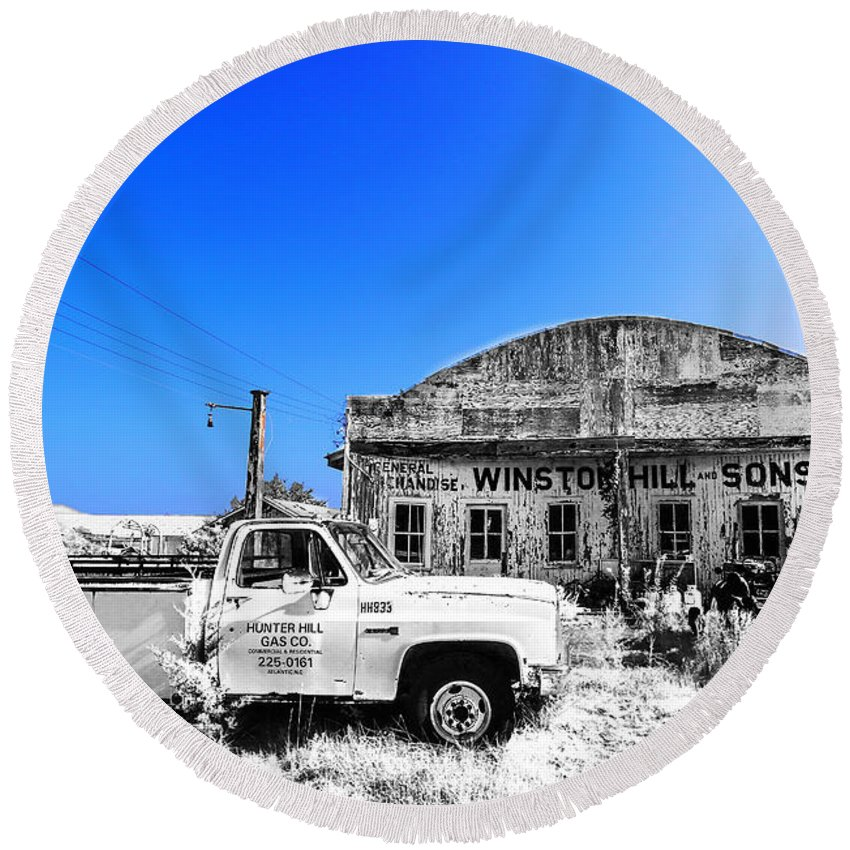 Infrared Round Beach Towel featuring the photograph Winston Hill Cir by Paula OMalley