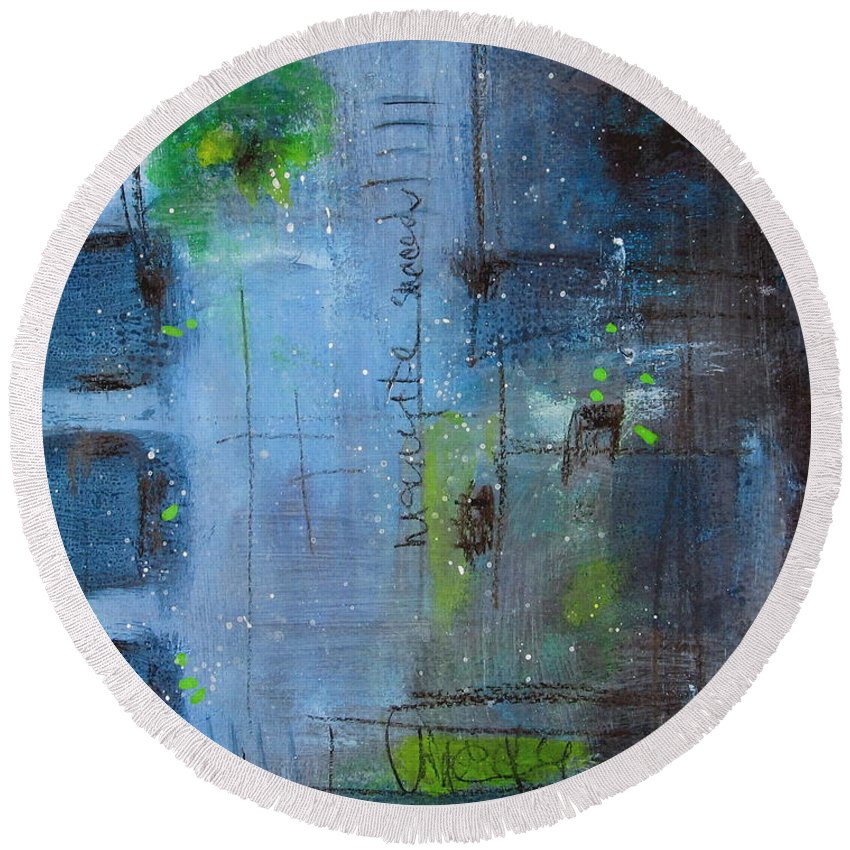 Abstract Painting Round Beach Towel featuring the painting Winter 2 by Nicole Nadeau