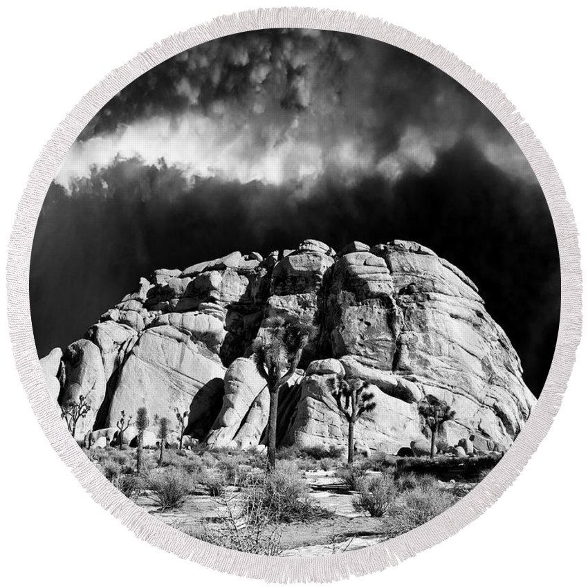 Winter Round Beach Towel featuring the photograph Winter At Joshua Tree by Dominic Piperata