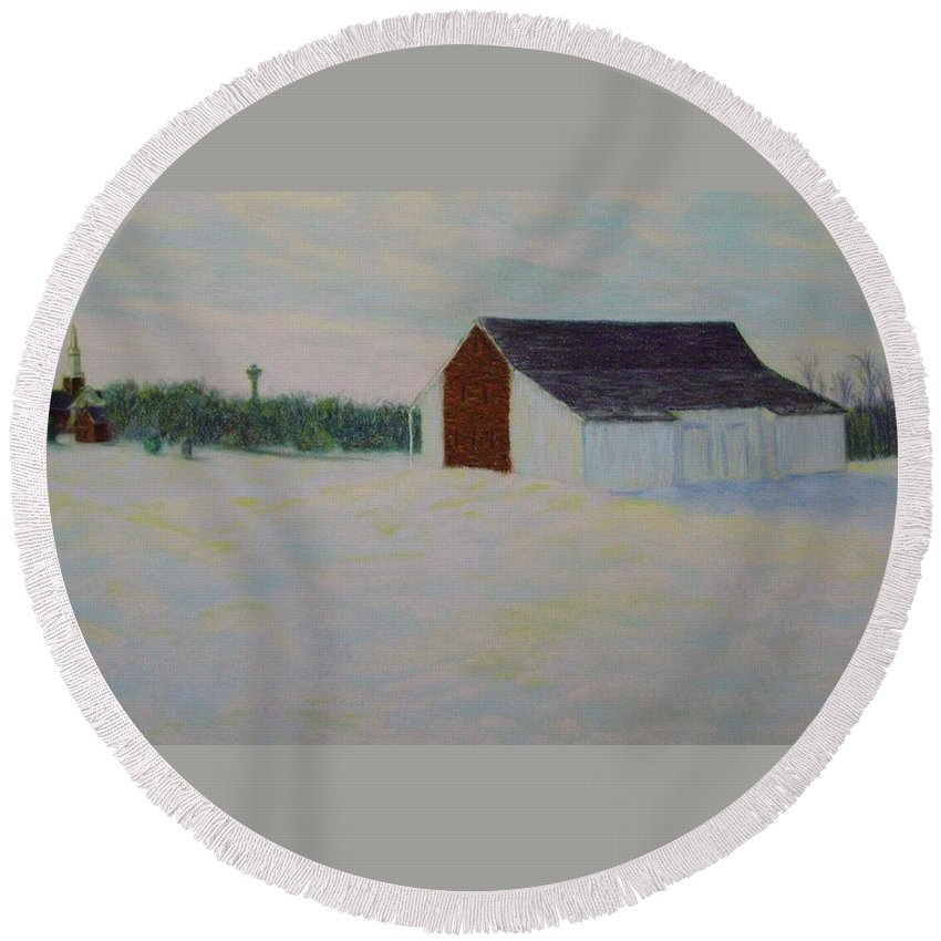 Winter Round Beach Towel featuring the pastel Winter At Mcphersons Barn Gettysburg by Joann Renner