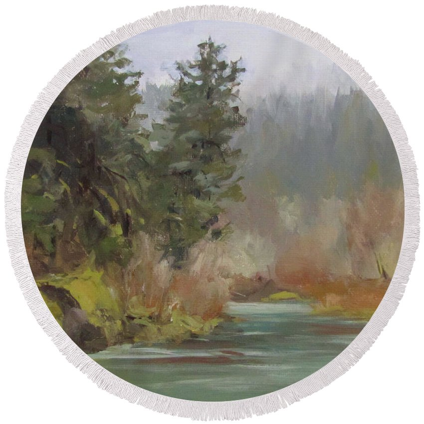 Plein Air Round Beach Towel featuring the painting Winter At Swiftwater by Karen Ilari