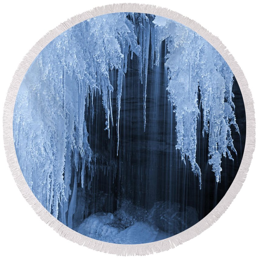 Ice Crystal Round Beach Towel featuring the photograph Winter Blues - Frozen Waterfall Detail by John Stephens