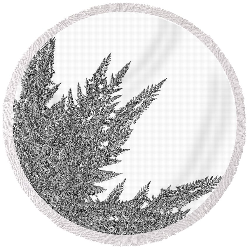 First Star Art Round Beach Towel featuring the digital art Winter Branches By Jammer by First Star Art