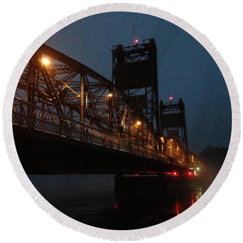 Bridge Round Beach Towel featuring the photograph Winter Bridge In Fog 2 by Tim Nyberg