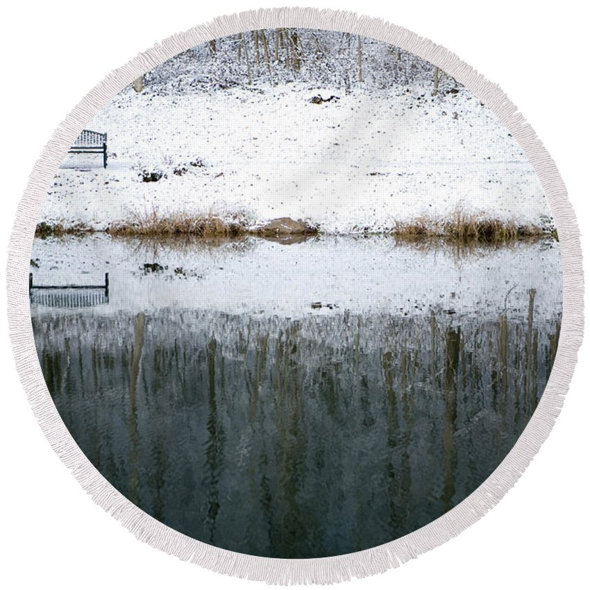 Winter Round Beach Towel featuring the photograph Winter By The Lake by Sharon Dominick