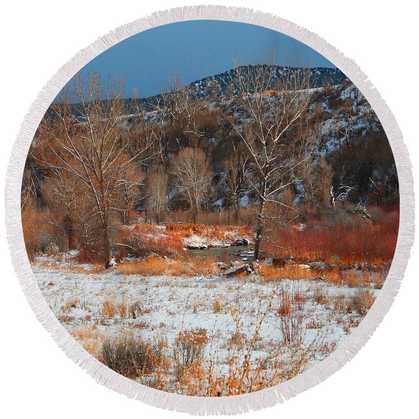 Roena King Round Beach Towel featuring the photograph Winter Colors by Roena King