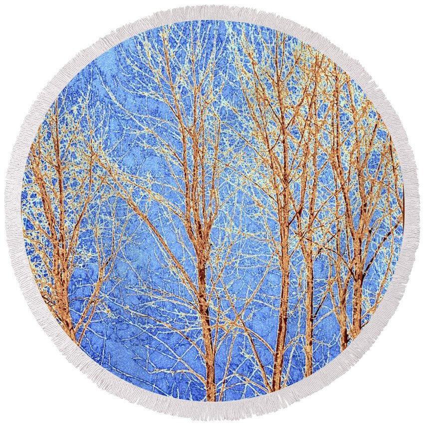 Winter Cottonwoods Abstract Round Beach Towel featuring the digital art Winter Cottonwoods Abstract by Will Borden