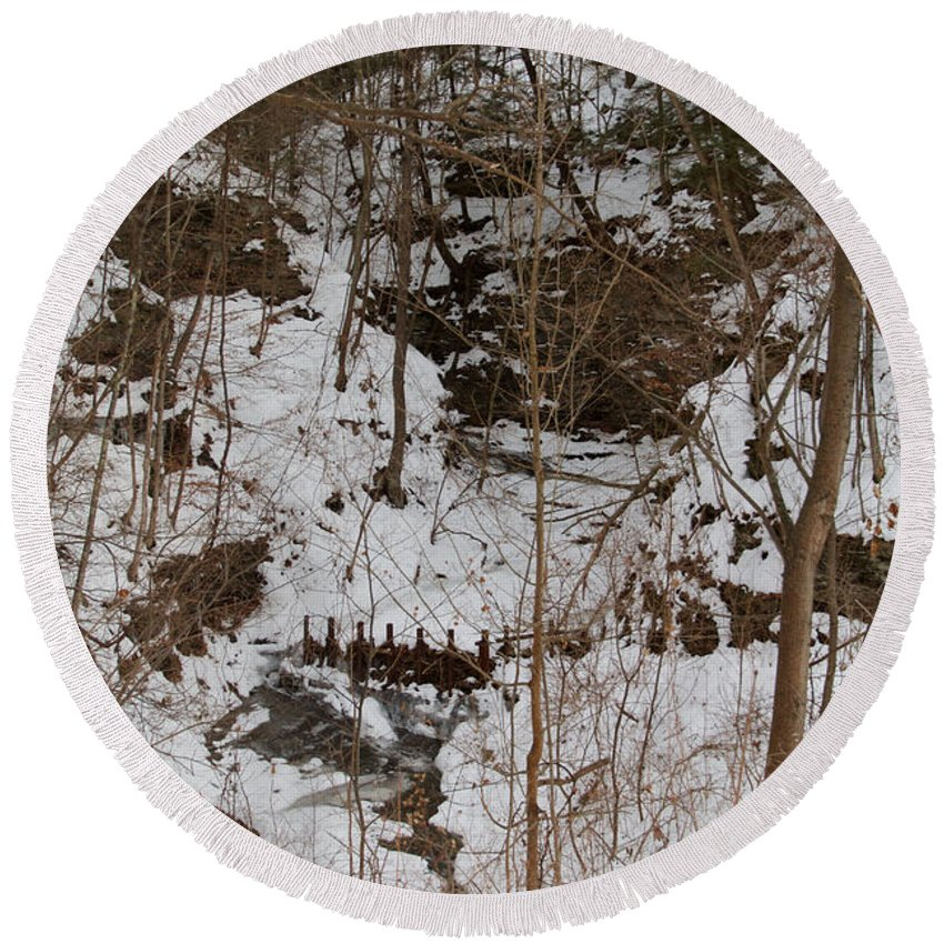 Winter Round Beach Towel featuring the photograph Winter Creek by William Norton