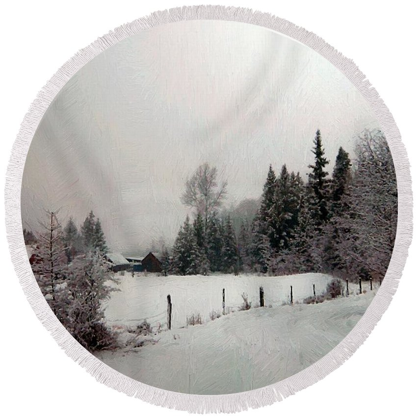 Winter Round Beach Towel featuring the painting Winter Dawn by RC DeWinter