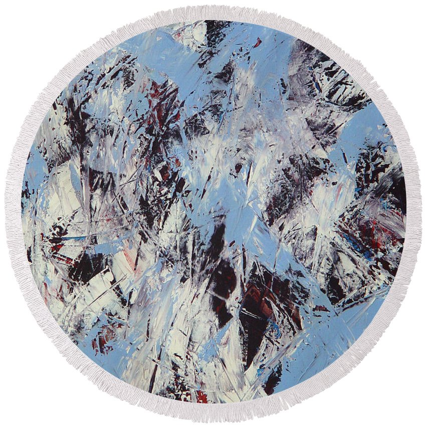 Abstract Round Beach Towel featuring the painting Winter by Dean Triolo