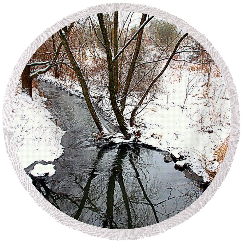Winter Round Beach Towel featuring the photograph Winter Ditch by Valentino Visentini