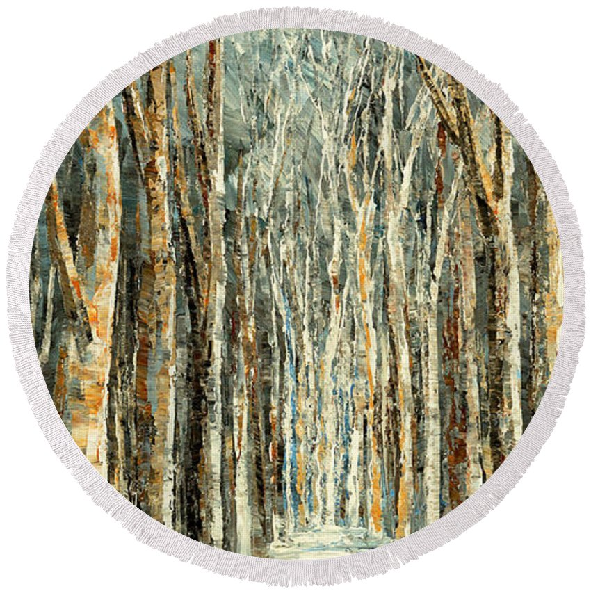 Forest Round Beach Towel featuring the painting Winter Dreams by Tatiana Iliina